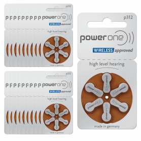 PowerOne p312 hearing aid batteries- batch of 20
