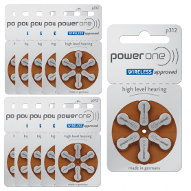 PowerOne type 312 hearing aid batteries - P312 pack