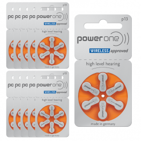 PowerOne type 13 hearing aid batteries - P13 pack