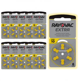 Rayovac type 10 hearing aid batteries - pack of 10