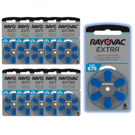 Rayovac type 675 hearing aid batteries - pack of 10