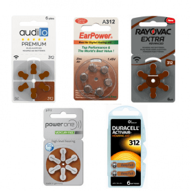 PACK d'ESSAI Piles Auditives 312 Audilo Premium, EarPower, PowerOne, Duracell, Rayovac