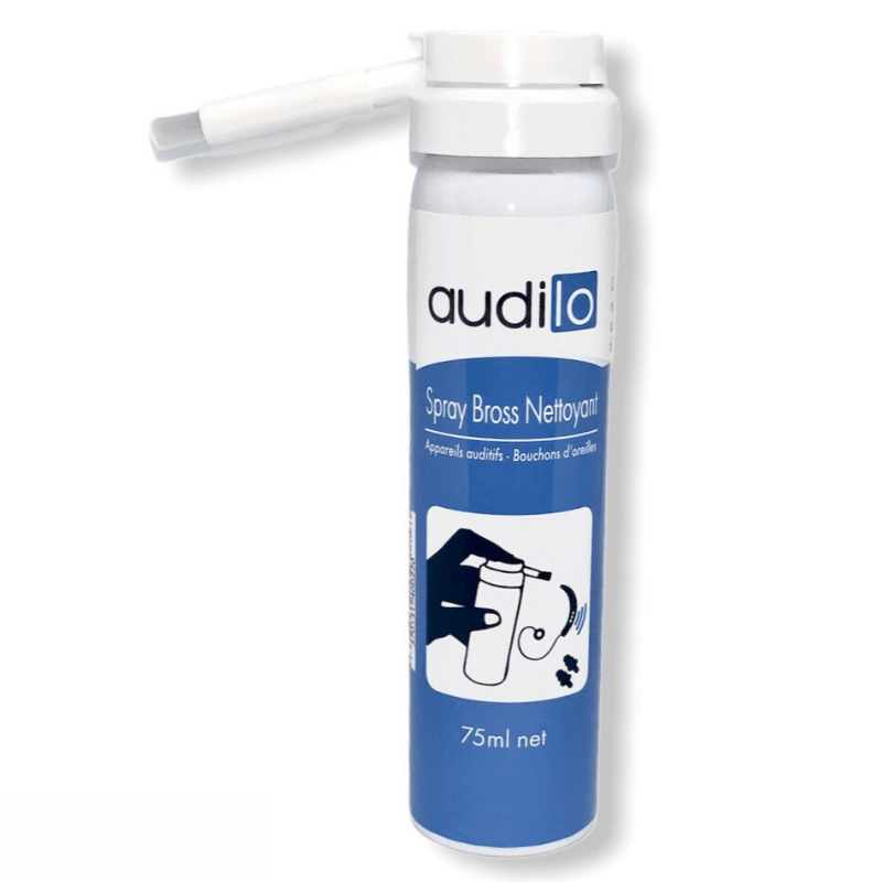 Audilo hearing aid cleaning spray